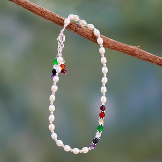 Sterling Silver 'Peaceful Purity' Pearl Multi-gem (5mm) Anklet (India)