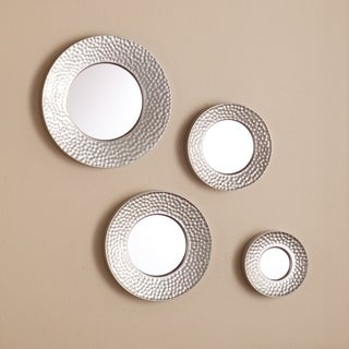 Upton Home Four-piece Hammered Silver Sphere Wall Mirror Set