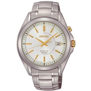 Seiko Men's SKA525 Stainless Steel Kinetic White Dial 100M Water Resistant Watch