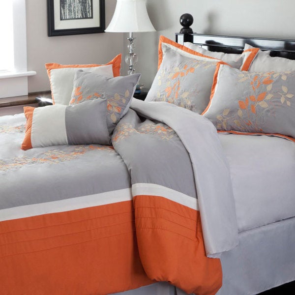 Windsor home gray and orange embroidered 7 piece comforter - Orange and grey comforter ...