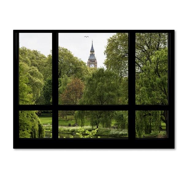 Philippe Hugonnard 'Window View St James's Park 1' 35x47 Canvas Wall Art