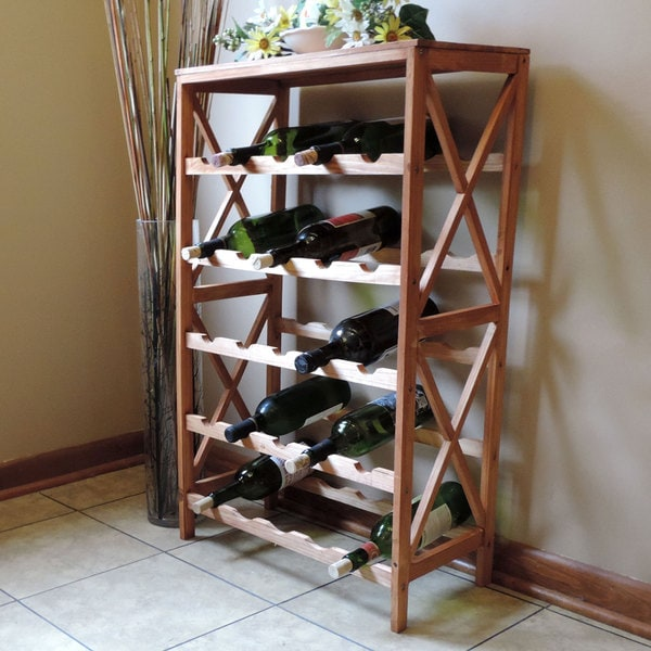 Windsor Home Classic Rustic Wood 25 Bottle Wine Rack