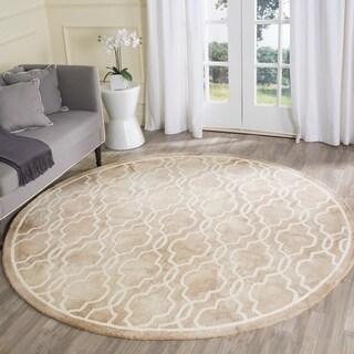 Safavieh Handmade Dip Dye Beige/ Ivory Wool Rug (7' x 7' Round)