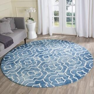 Safavieh Handmade Dip Dye Blue/ Ivory Wool Rug (7' x 7' Round)