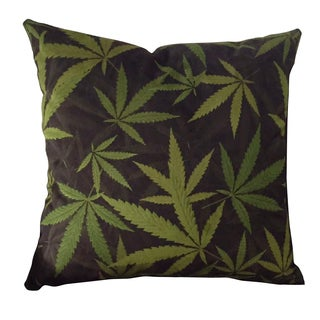 MJFI 24-inch Cannabis Bliss Black and Green Marijuana Botanical Print Microfiber Throw Pillow