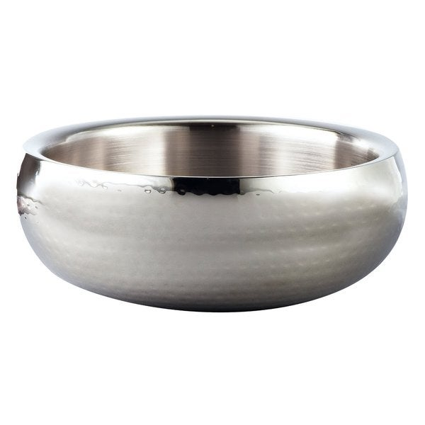 """Elegance Hammered 11"""" Round Stainless Steel Doublewall Serving Bowl"""