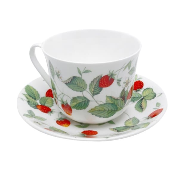 Roy Kirkham Breakfast Cup/Saucer - Alpine Strawberry (Set of 2)
