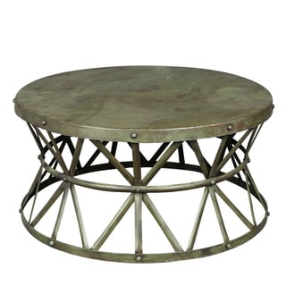 Porter Truss Green Distressed Industrial Metal Coffee Table (India)