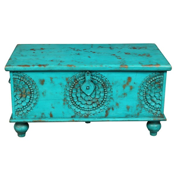Porter leela teal blue hand carved medallion coffee table trunk india 17689486 overstock Indian trunk coffee table