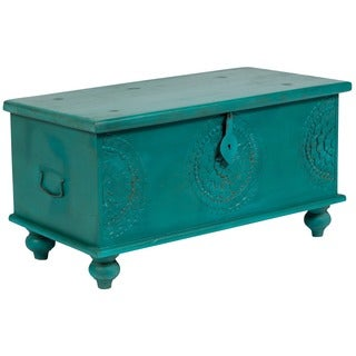 Wanderloot Leela Teal Blue Hand-carved Medallion Coffee Table Trunk (India)