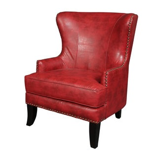 Porter Grant Red Bonded Leather Wingback Accent Chair