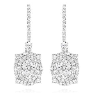Luxurman 14k Gold 1 5/8ct TDW Designer Diamond Drop Earrings (G-H, VS1-VS2)