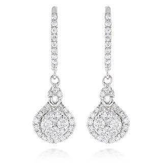 Luxurman 14k White or Yellow Gold 1 1/10ct TDW Diamond Drop Shape Clusters Earrings (G-H, VS1-VS2)