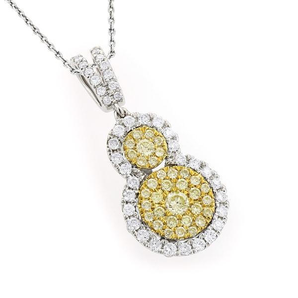 LUXURMAN 14K GOLD 1.3CT UNIQUE WHITE AND YELLOW DIAMONDS WOMENS PENDANT ( White/Yellow, VS-SI )