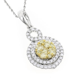 Luxurman 14k Gold 1 1/6ct TDW White Yellow Diamond Round Pendant