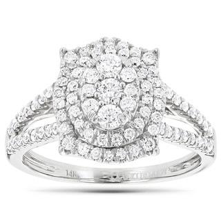 Luxurman 14k Gold 1ct TDW Diamond Cluster Fashion Ring (G-H, VS1-VS2)