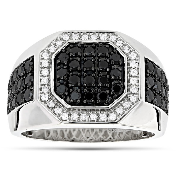 LUXURMAN 14K 1.8CT MENS PINKY RINGS! WHITE AND BLACK DIAMOND RING FOR MEN PINKY RING ( Black/ White, VS-SI/AAA )
