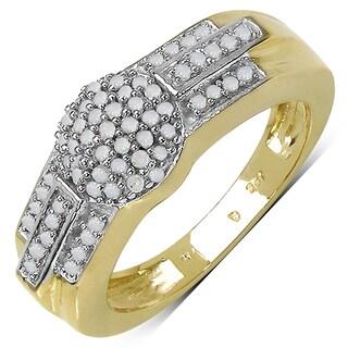 Malaika .925 Sterling Silver 0.33 Carat Genuine White Diamond 14K Yellow Gold Plated Ring (I-J)
