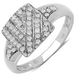 Malaika 0.24 Carat Genuine White Diamond 14K White Gold Plated .925 Sterling Silver Ring (I-J)