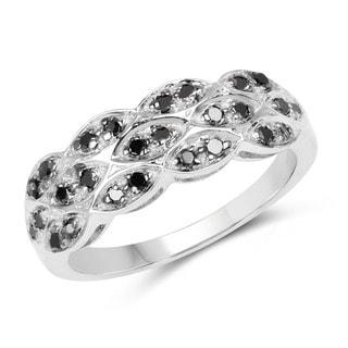 Malaika .925 Sterling Silver 0.28 Carat Genuine Black Diamond Ring