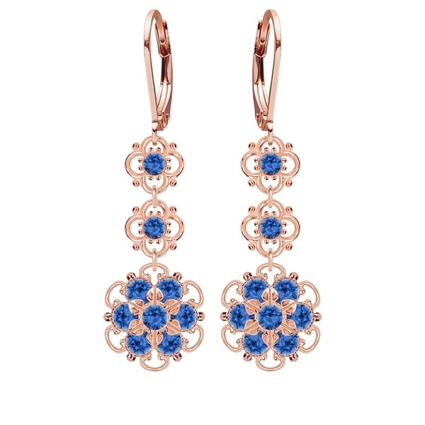Lucia Costin Silver, Blue Swarovski Crystal Earrings