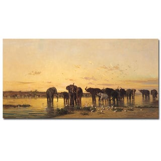 Charles Emile de Tournemine 'African Elephants' 24x47 Canvas Wall Art