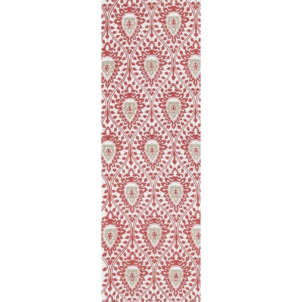 Printed Flatweave Marissa Red Rug (1'8 x 5'0)