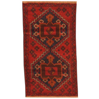 Herat Oriental Afghan Hand-knotted Tribal Balouchi Red/ Navy Wool Rug (2'7 x 4'7)