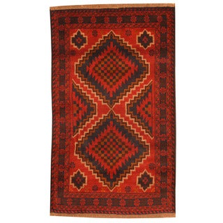 Herat Oriental Afghan Hand-knotted Tribal Balouchi Red/ Navy Wool Rug (2'9 x 4'7)