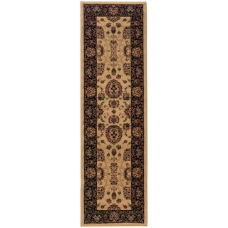 Old World Persian Flair Ivory/ Black Rug (2'3 x 7'9)