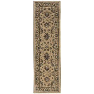 Updated Old World Persian Flair Ivory/ Green Rug (2'3 x 7'9)
