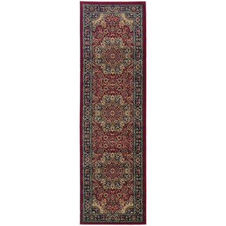 Updated Old World Persian Flair Red/ Blue Rug (2'3 x 7'9)