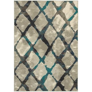 Global Influence Diamond Lattice Grey/ Blue Rug (3'10x5'5)