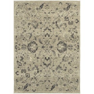 """Global Influence Floral Traditional Beige/ Grey Rug (3'10"""" X 5'5"""")"""