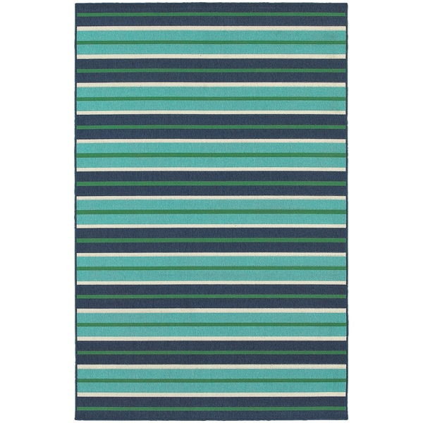 Feeling the Blues Striped Blue/ Green Indoor Outdoor Rug (3'7 x 5'6)