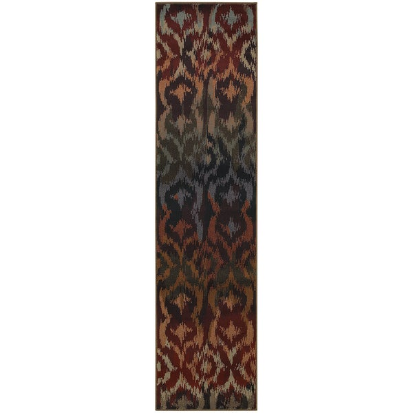 Ikat Print Red/ Multicolored Area Rug (1'10x7'6)