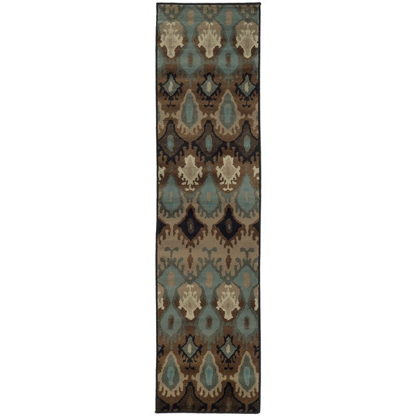 Old World Tribal Blue/ Stone Rug (1'10 x 7'6)