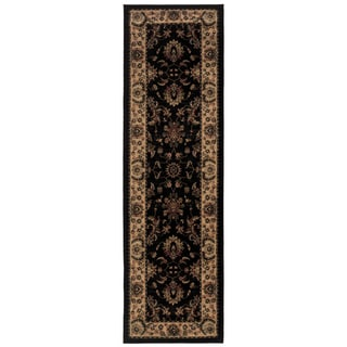 Updated Old World Persian Flair Black/ Ivory Rug (2'3 x 7'9)