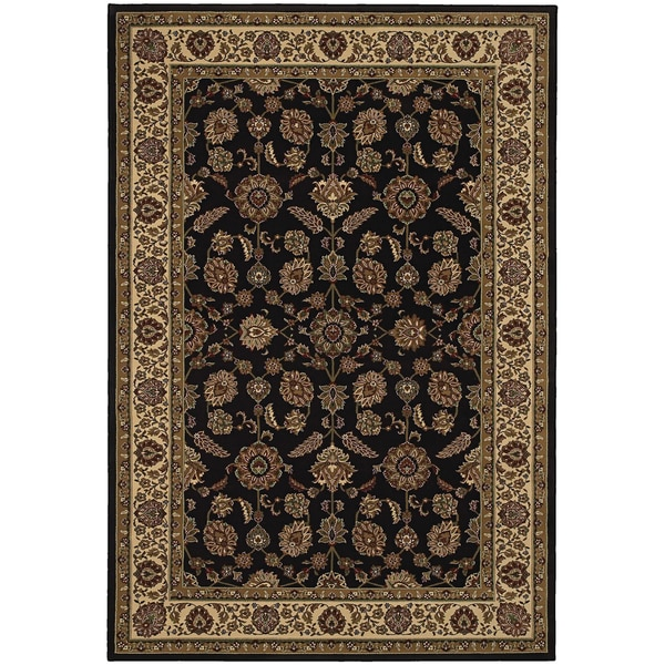 Updated Old World Persian Flair Brown/ Ivory Rug (4' x 5'9)