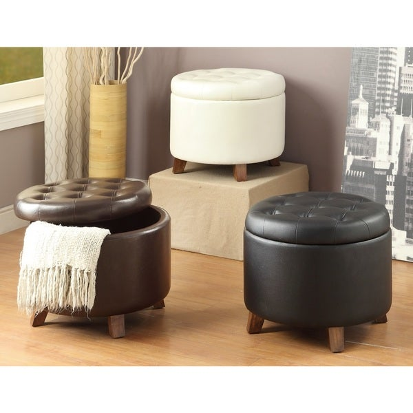 2M Designs Leather Ottoman with Storage Space