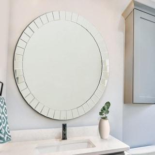 Santorini Modern Round Wall Mirror - Silver By Abbyson