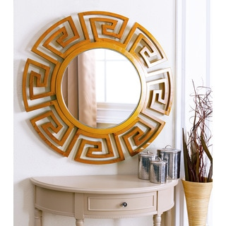 Abbyson Living Monticello Brown Round Wall Mirror