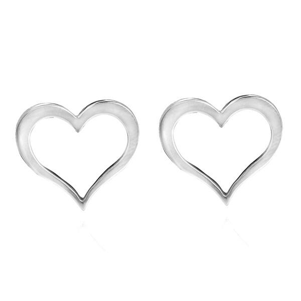 Wavy Open Loving Heart .925 Sterling Silver Stud Earrings (Thailand)