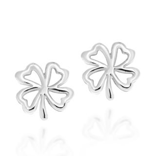 Four Heart Leaf Clover Sterling Silver Stud Earrings (Thailand)