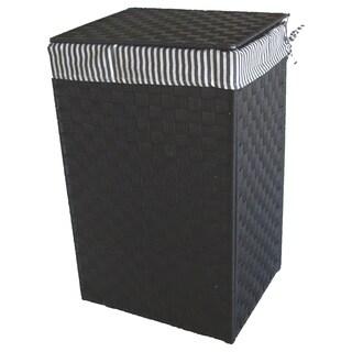 America Basket Company Woven Black Nylon Full-load Metal Frame Lined Hamper