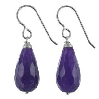 Ashanti Purple Jade Gemstone Sterling Silver Handmade Earrings