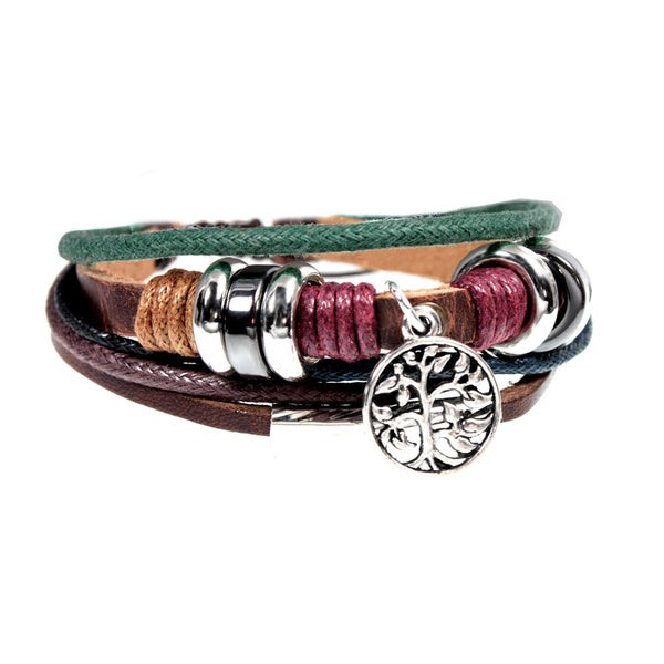 Tree of Life Multi-strand Leather Charm Adjustable Drawstring Bracelet