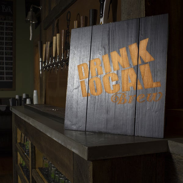 'Drink Local Brew' Wood Sign, Black