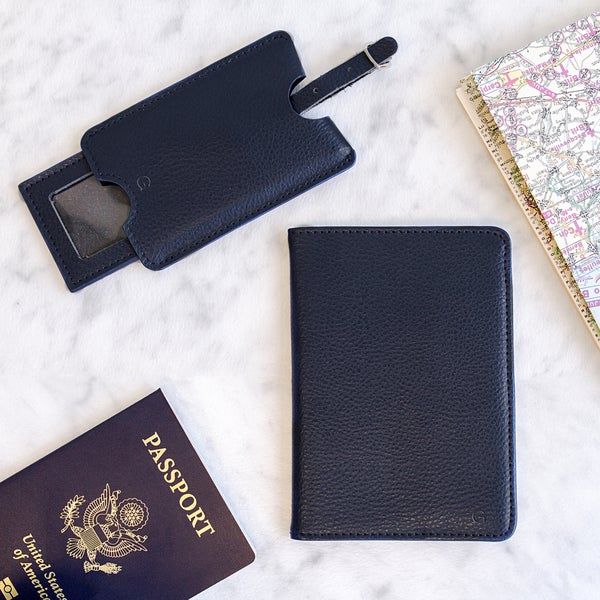 Personalized Navy Leather Passport Holder & Luggage Tag Set