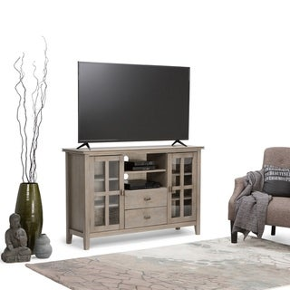 WYNDENHALL Stratford SOLID WOOD 53 inch Wide Contemporary TV Media Stand in Distressed Grey For TVs up to 55 inches